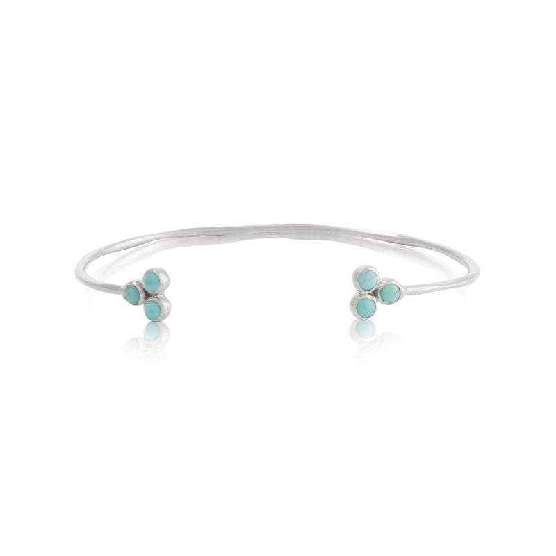 Clover Cuff, Turquoise, Silver