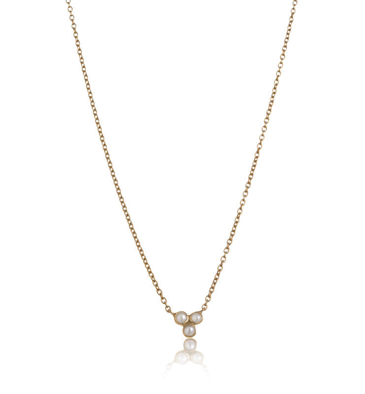 Clover Pearl Necklace, Gold