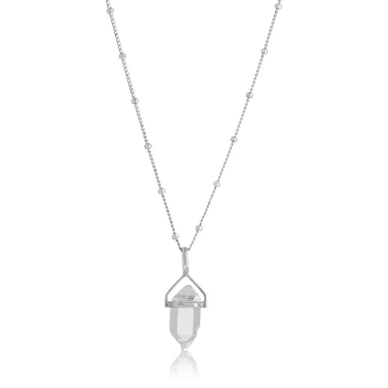 Herkimer Crystal Pendant, Silver