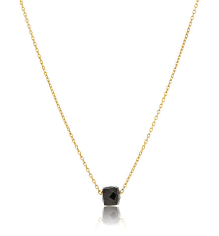 Cube Necklace, Black Onyx, Gold, Kerry, Rocks, Jewellery