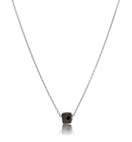 Cube, On, Chain, Black, Onyx, Silver, Kerry, Rocks, Jewellery, Jewelry