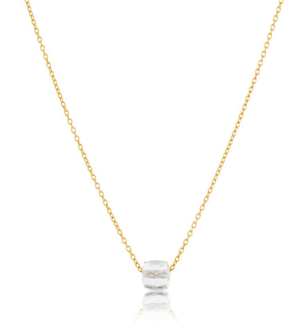 Cube On Chain, Crystal Quartz, Gold