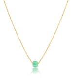 Cube On Chain, Green Onyx, Gold