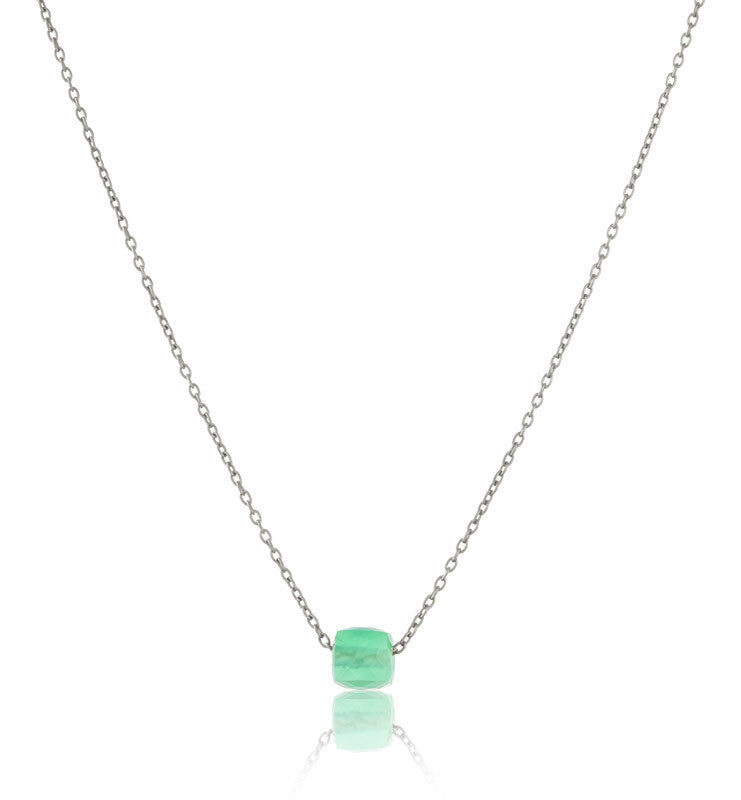 Cube On Chain, Green Onyx, Silver