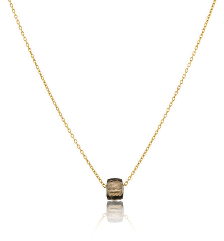 Cube On Chain, Smokey Quartz, Gold