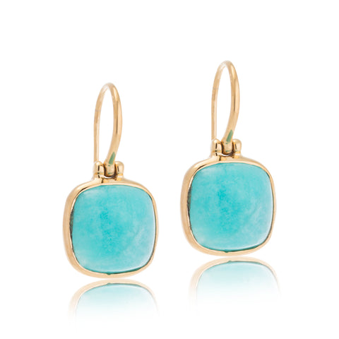 Cushion Earring, Amazonite, Gold