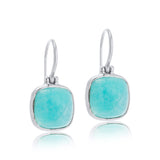Cushion Earring, Amazonite, Silver
