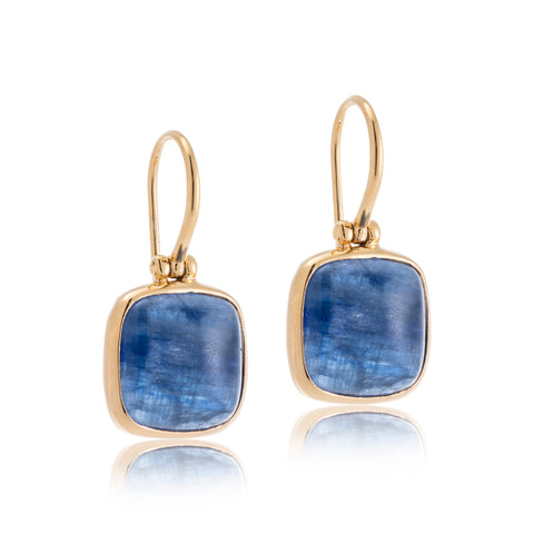 Cushion Earring, Kyanite, Gold