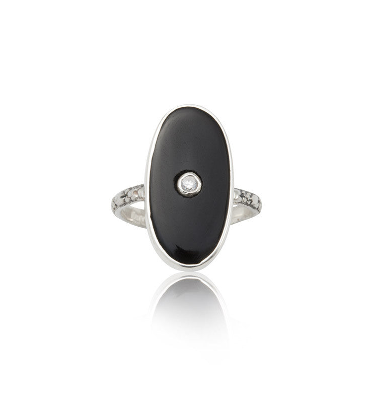 Deco, Ring, Black, Onyx, Silver, Kerry, Rocks, Jewellery