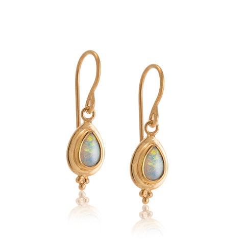 Gaia Earring, White Opal, Gold