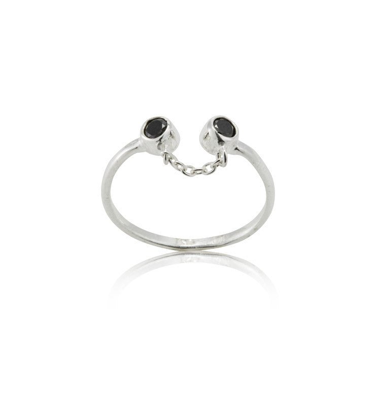 Destiny Ring, Black Zircon, Silver