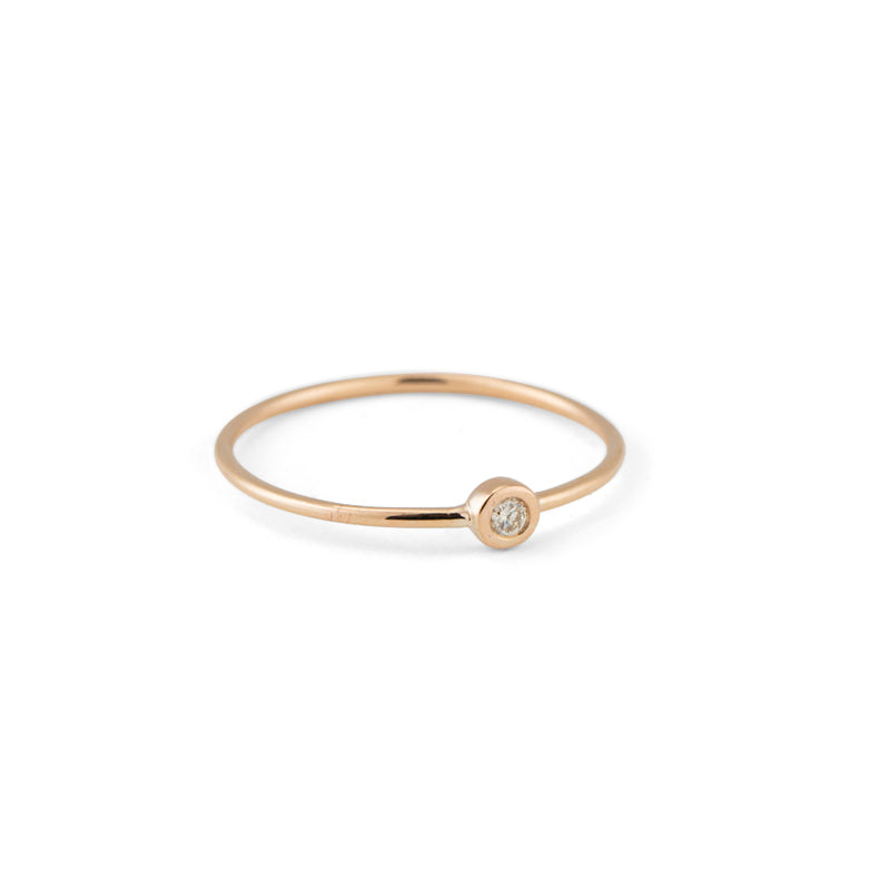 Diamond Dot Ring, 9kt Yellow Gold