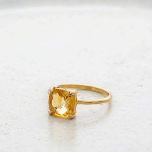 Mini Kara Ring, Citrine, 9kt Yellow Gold