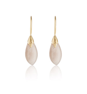 Empire Earring, Peach Moonstone, Gold
