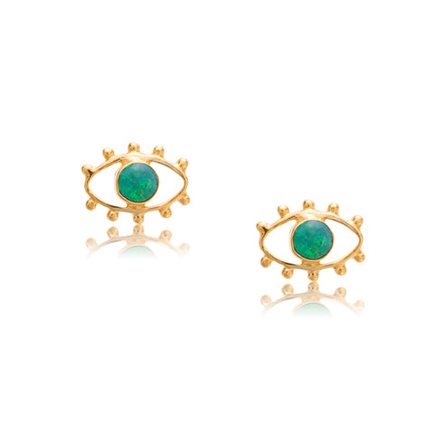 Evil Eye Stud, Opal, Gold