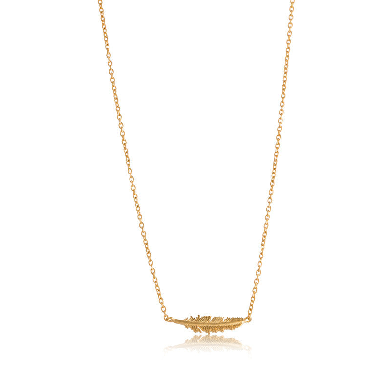 Feather Necklace, Gold