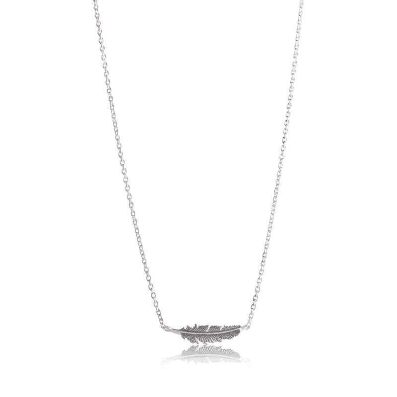 Feather Necklace, Silver