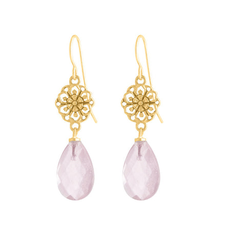 Fiorella, Earring, Rose, Quartz, Gold, Kerry, Rocks, Jewellery