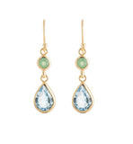 chrysoprase, blue topaz, gold, earring, kerry, rocks, jewellery
