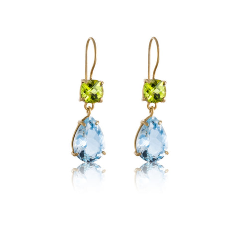 Gem Duo Earring, Peridot, Blue Topaz, Gold