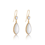 Gem Duo Earring, Rainbow Moonstone, White Moonstone, Gold