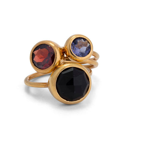 Gem Stack Rings, Black Onyx, Garnet, Iolite, Gold