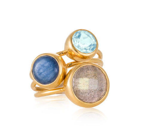 Gem Stack Rings, Labradorite, Kyanite, Blue Topaz, Gold