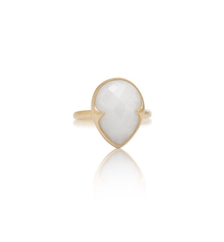 Gemma Ring, White Quartzite, Gold