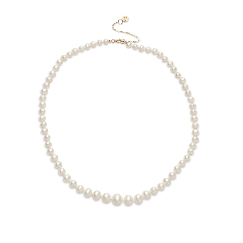 Graded Necklace,Pearl, 9kt Yellow Gold