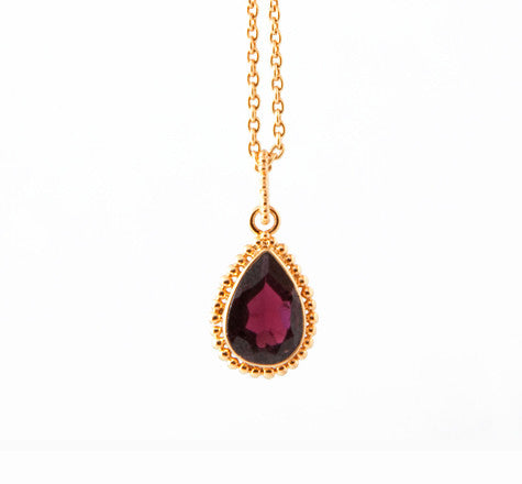 Granulated Gem Pendant, Garnet, Gold