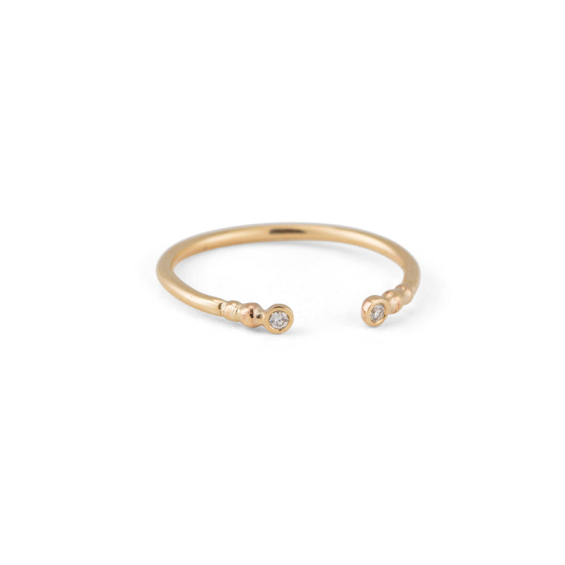 Beaded Cuff Ring, White Diamond, 9kt Yellow Gold