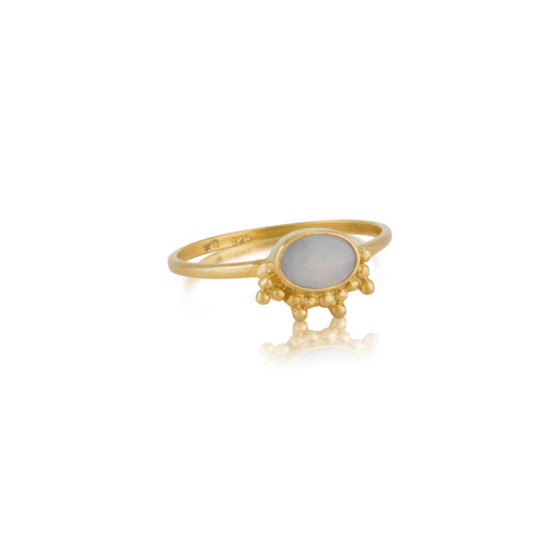 Granule Ring, White Opal, Gold