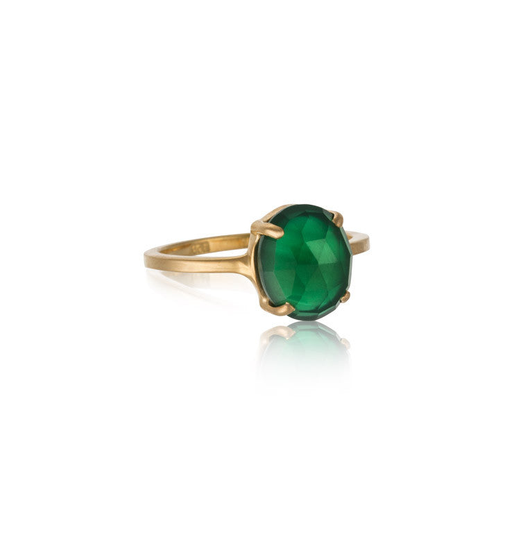 Ophelia Ring, Green Onyx, Gold
