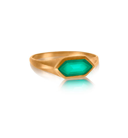 Altair Ring, Green Onyx, Gold