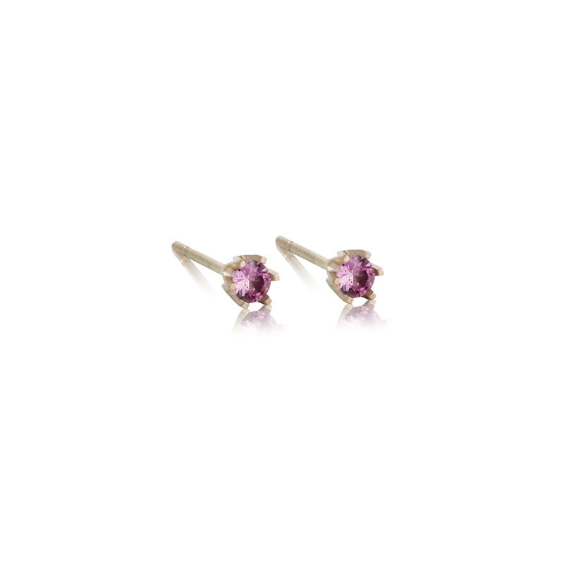 Pink Sapphire Studs, 9kt Yellow Gold