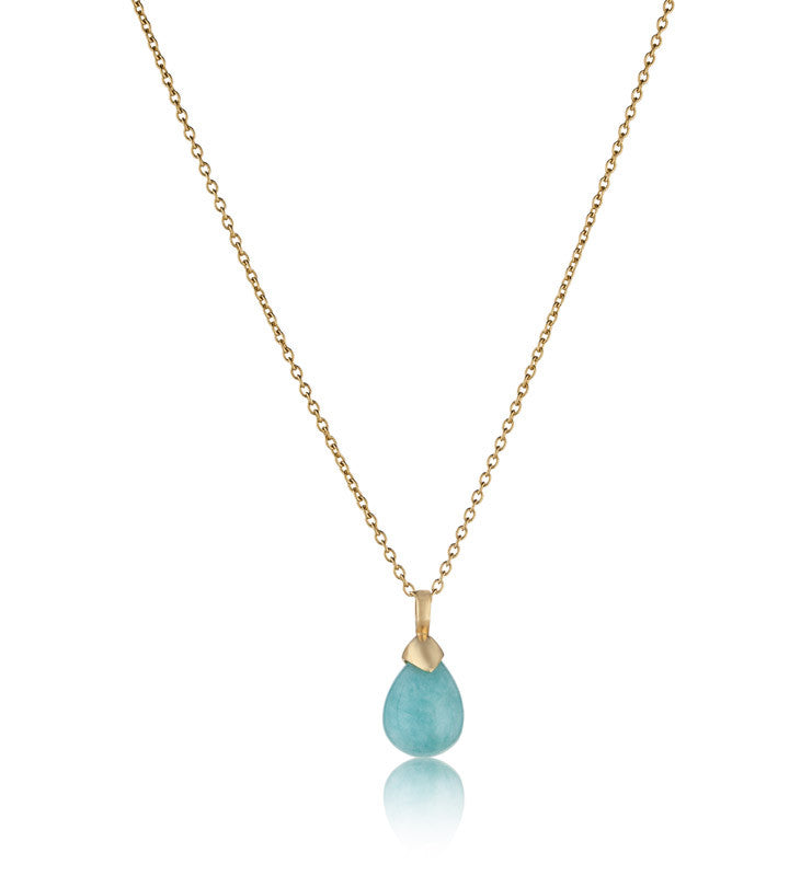 Inez Pendant, Amazonite, Gold