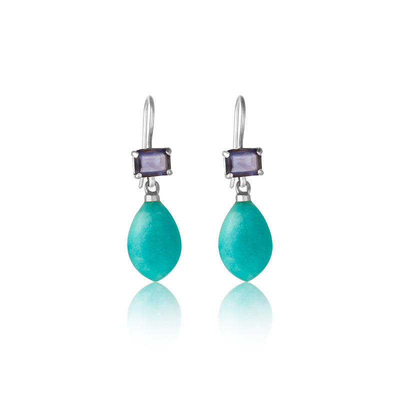 Iolite, Amazonite Earring, Silver