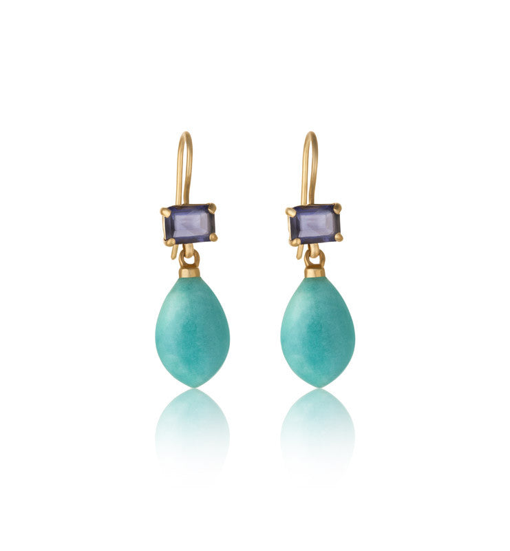 Iolite, Amazonite Earring, Gold
