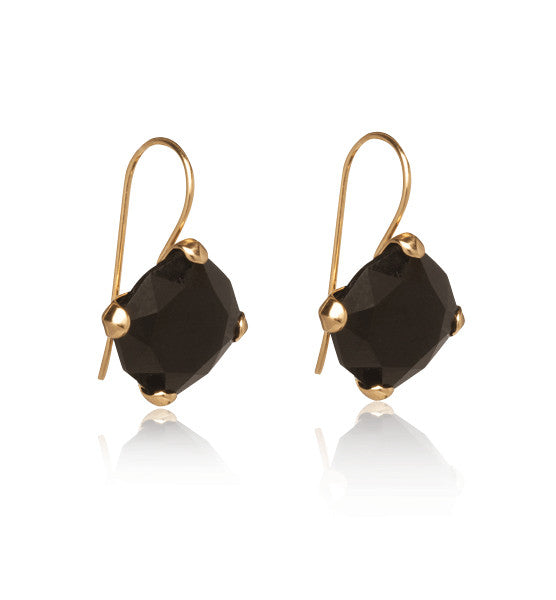 Kara Earring, Black Onyx, Gold