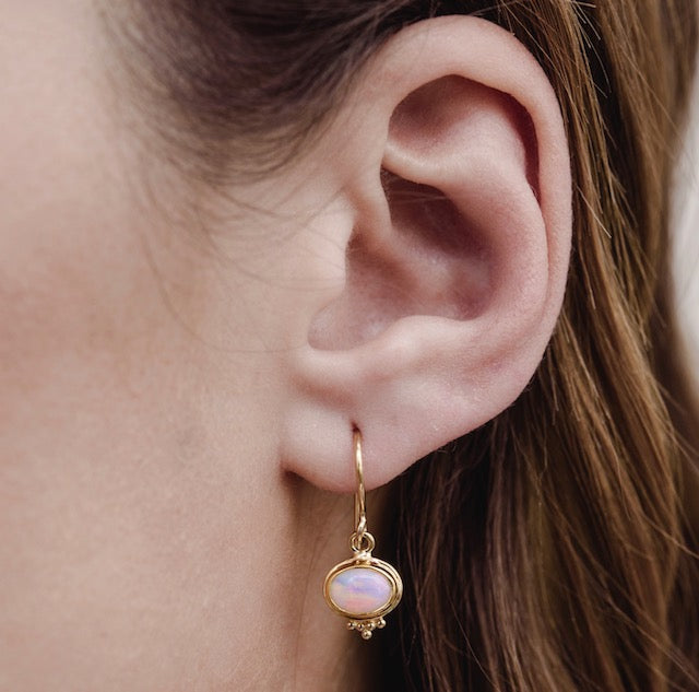 Anara Earring, White Opal, Gold