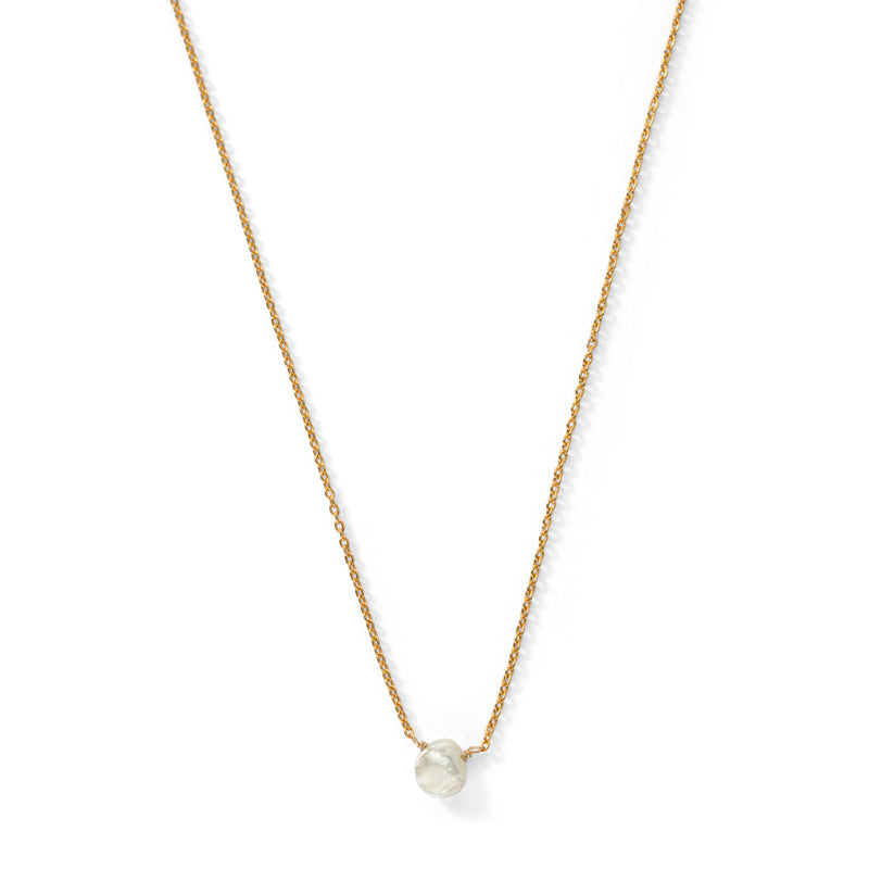 Mini Keshi Pearl Necklace, Gold
