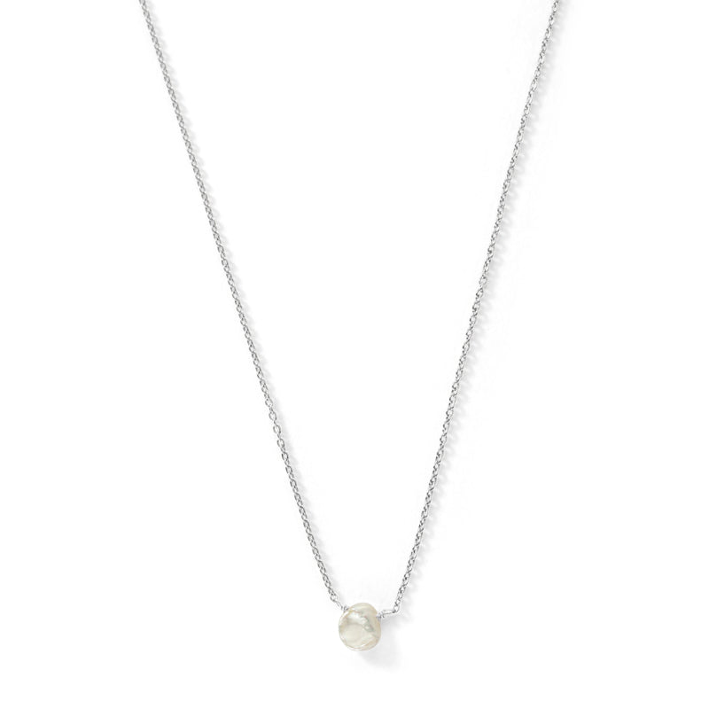Mini Keshi Pearl Necklace, Silver