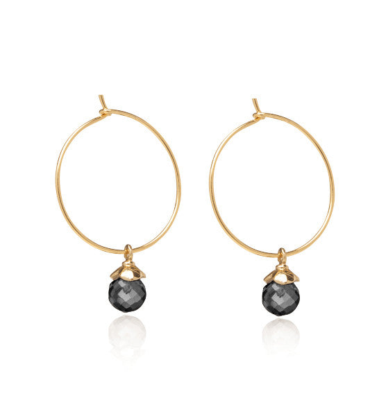 Lola, Hoops, black, Onyx, Gold,kerry,rocks,jewellery