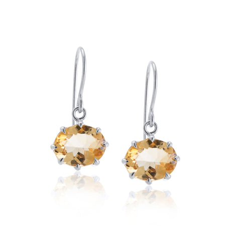 Marie Earring, Citrine, Silver