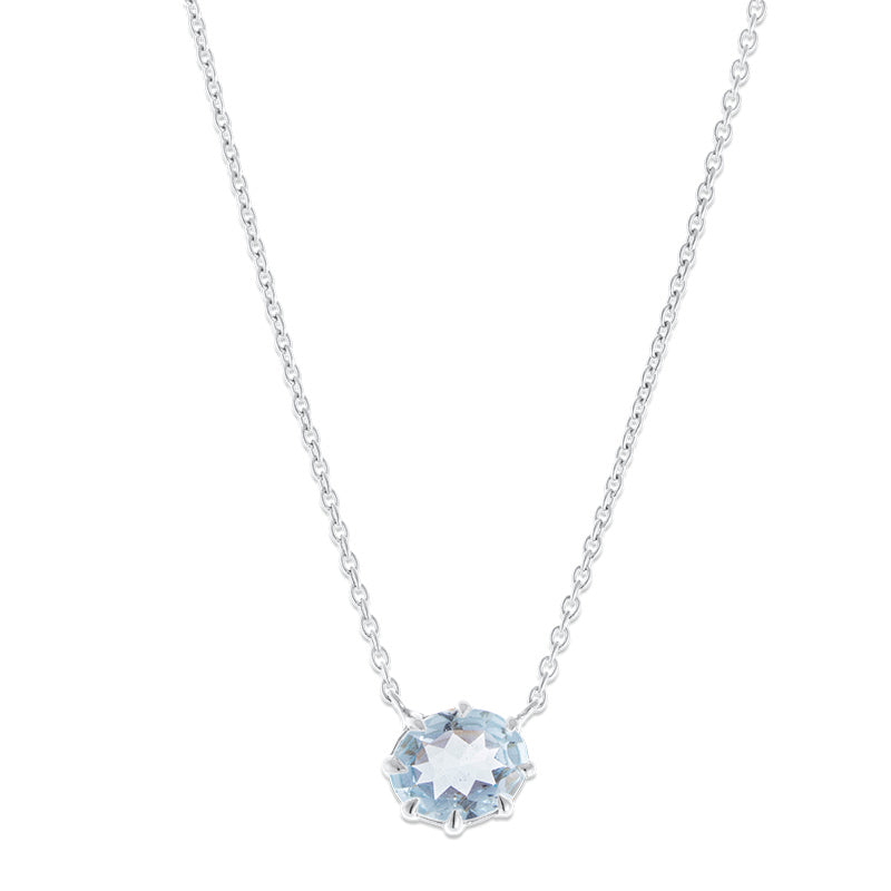 Marie Necklace, Blue Topaz, Silver