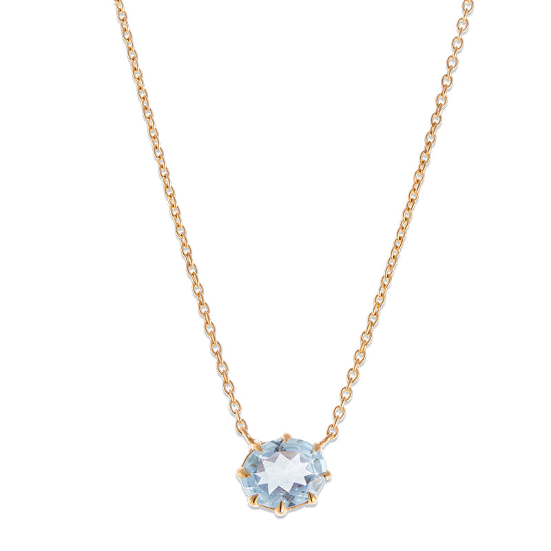 Marie Necklace, Blue Topaz, Gold
