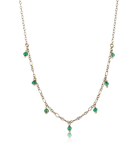 Milla Necklace, Green Onyx, Gold