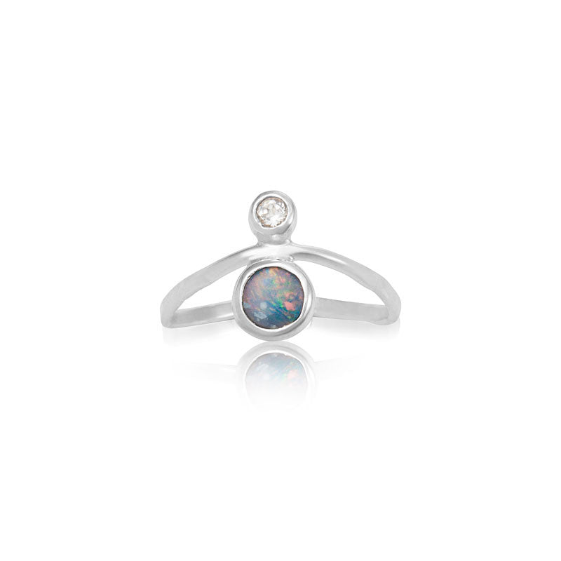Opal Curved Ring, Silver