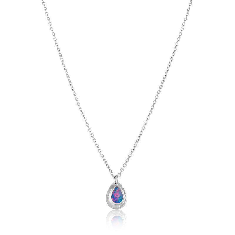Opal Drop Necklace, Silver