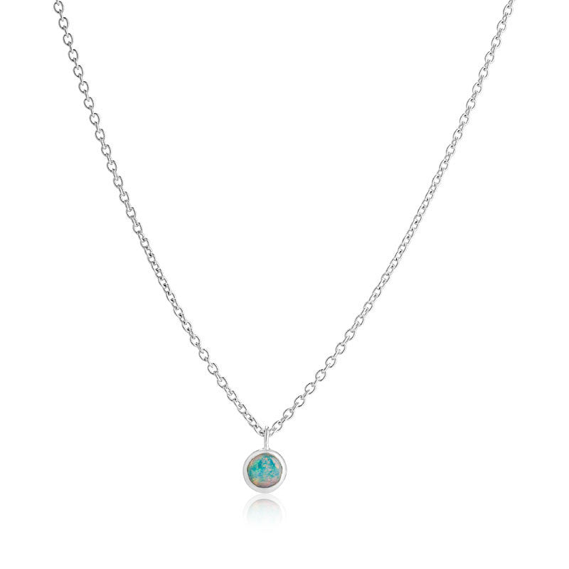 Opal Solitaire Necklace, Silver